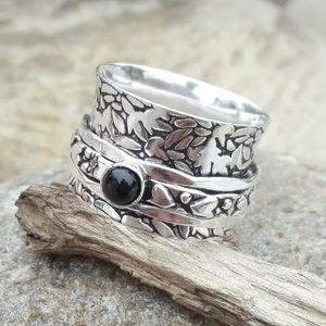 Onyx 925 SS Spinner Ring